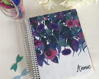 Erin Condren Planner Cover, Happy Planner Cover, Recollections Planner Cover, floral, purple, blue, glitter, vines, tropical flowers, Hawaii
