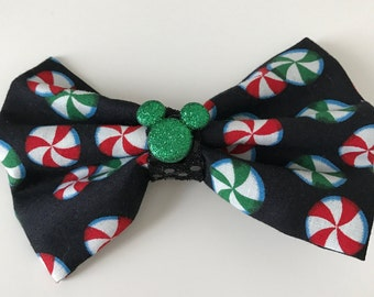 Mickey Minnie Mouse Peppermint Christmas hair bow