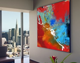 Large Handmade Square Abstract Acrylic Painting on Canvas. Hand Painted Colorful Modern Contemporary Art. Red, Blue and White Painting.