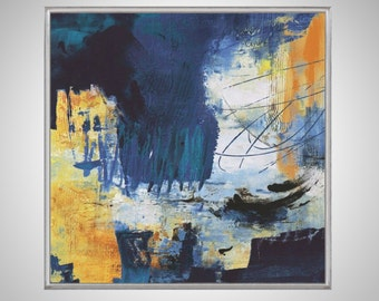 Abstract Acrylic Painting on Canvas. Large Hand Painted Square Colorful Modern Contemporary Art. Blue, Yellow, White & Gold Painting