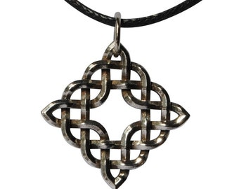 Sterling Silver Diamond-shaped Celtic Knot Pendant