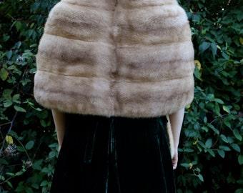 1950s Plush Blond Mink Stole with Pockets