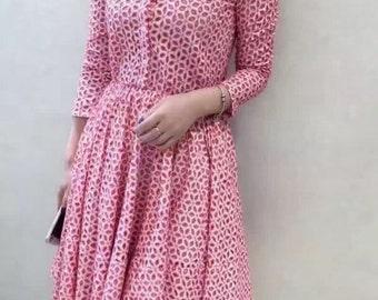 Red White Stitch Pattern Dress - 16D002