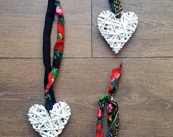 White Wicker Hearts with Upcycled Ukrainian Folk Scarf Ribbon Tie