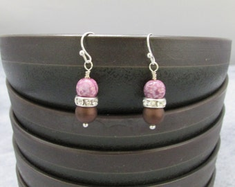 Chocolate, Cherry, and Crystal Earrings