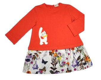 Kitten•Size 5T•Jersey Cotton Dress •Girl Dress•Long Sleeve  Girl Dress • Red Dress• Sweatshirt Dress • Toddler Dress •  Girls' Clothing