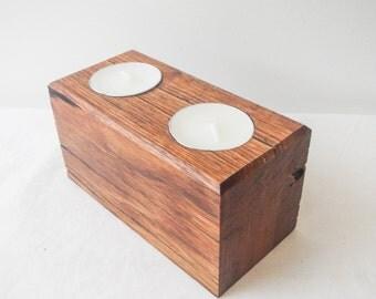 Jarrah hardwood double long tealight candle holder