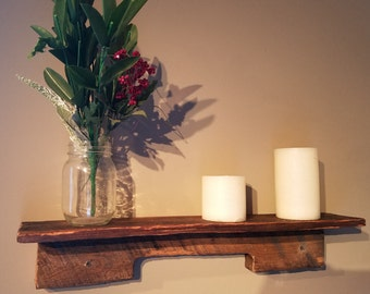 Rustic shelf made from reclaimed wood
