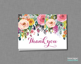 Thank You Card Printable, Floral Baby Shower Thank You Card, Colorful Shabby Chic Flower Thank You Card, Garden Baby Shower Thank You Card