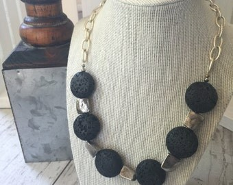 Volcanic Rock Silver Necklace