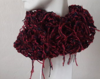 Handmade Crochet  Infinity Mohair and Wool Scarf, Neck Warmer, Mobius Scar, Winter Accessories