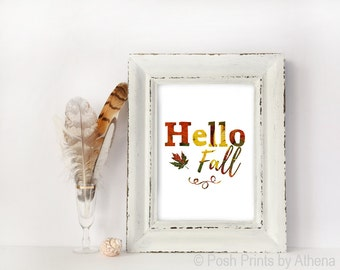 Hello Fall Leaf Texture Digital Print, Printable Wall Art, Typography, Autumn, Minimal, Decor