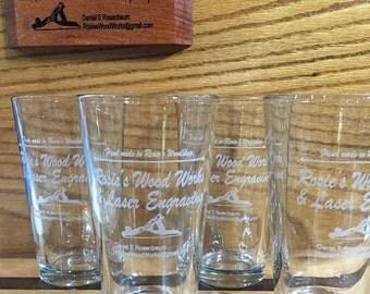 Laser Engraved 16oz Pint Glasses - Set of 5