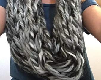 Gray scale infinity scarf