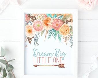 Floral Boho Nursery Print - Dream Big Little One - Baby Girl Nursery Ideas - Coral Baby Shower Gift - Tribal Baby Girl Print- Tribal Nursery