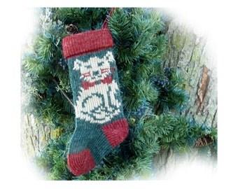 Christmas cat stocking - knit cat stocking - kitten stocking - Christmas cat lover gift - # 17