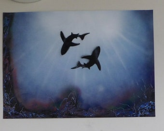 Sharks circling underwater painting
