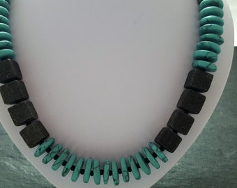 Necklace black lava with turquoise