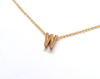 "Letter ""W"" Bridesmaid Gift, Wedding Jewelry, Bridesmaid Gift, Gifts for Her, Letter Necklace, Initial Necklace"