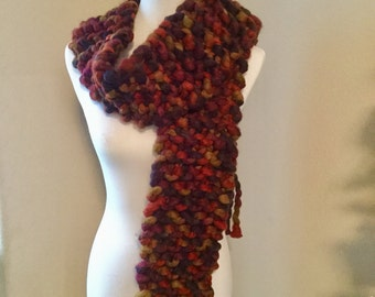 Chunky Knit Scarf with Fringe