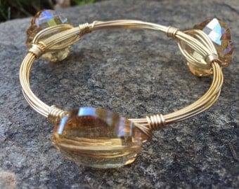 Wire Wrapped Beaded Bracelet--Gold Cut Shape