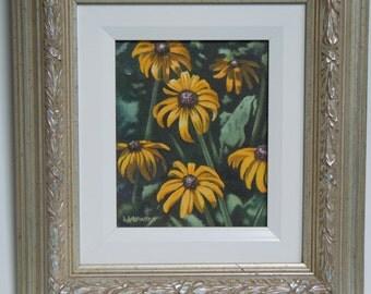 Daisies Original Small Acrylic Flower Painting, Framed Daisy Art, Gift for Mom, Garden Art, Gifts Under 100, Realism Art
