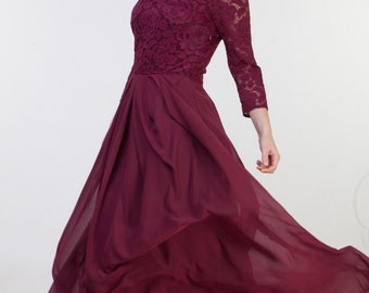 Long burgundy bridesmaid dress with sleeves Long burgundy dress Long burgundy lace dress Burgundy dress Burgundy prom dress SASH IS INCLUDED
