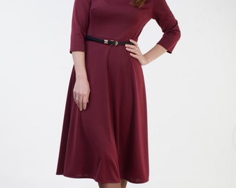 Burgundy jersey dress Burgundy dress women Midi office dress Autumn dress Winter dress with sleeves Fit and flare dress with sleeves