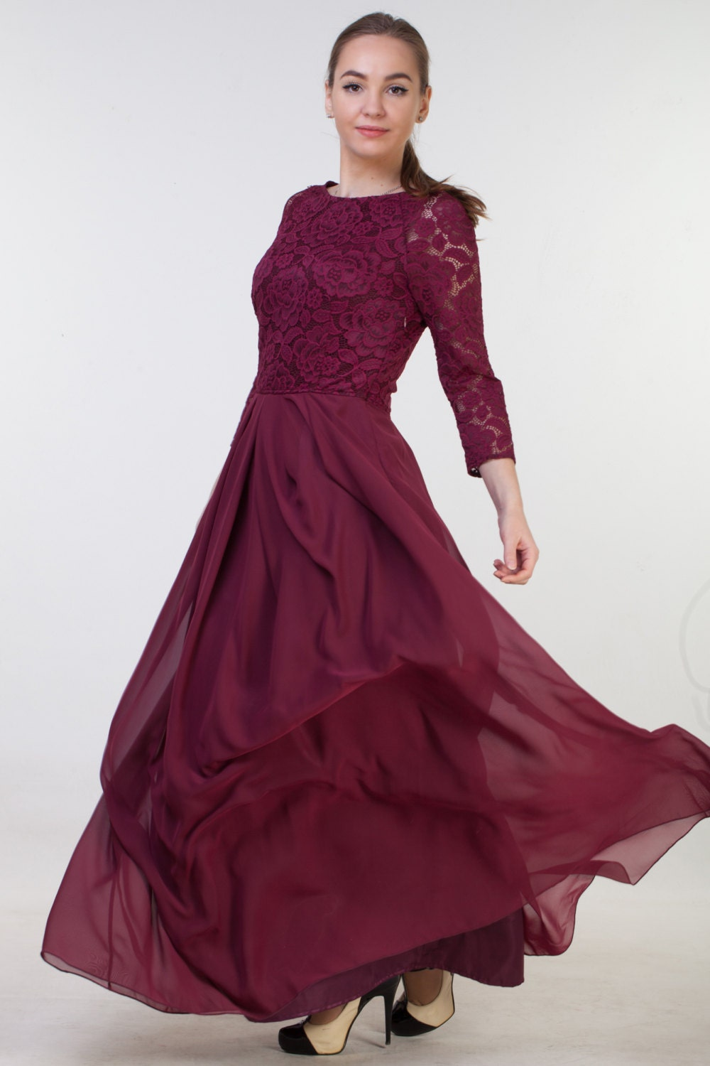 Long burgundy bridesmaid dress with sleeves bridesmaid dress zoom ombrellifo Choice Image