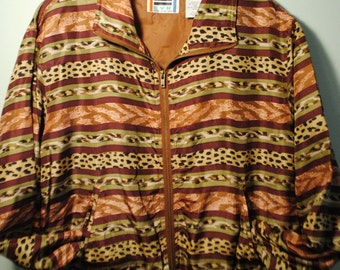 Animal Print Silk Zip Up Jacket