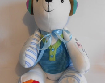 Memory Keepsake Bear - Baby Clothes, School Uniform, Sports Kit, Christening Gift, birth weight, weighted, cherished clothing