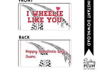 Car Valentine Printable / I Wheelie Like You Valentine Printable / Boy Valentine Printable / Car Treat Bag Topper / Car Valentine Tag