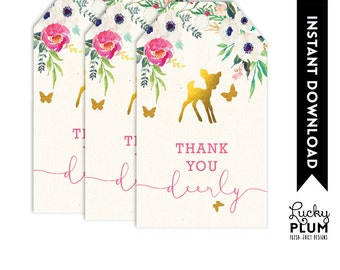 Deer Favor Tag / Deer Thank You Tag / Woodland Favor Tag / Woodland Thank You Tag Garden Flower Elves Pixie Butterfly  DR01