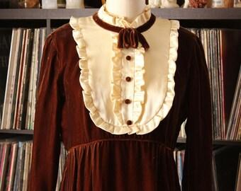 vintage Emma Domb 1960s velvet dress with ruffled bib . cream and brown velvet 60s maxi dress . womens size small medium