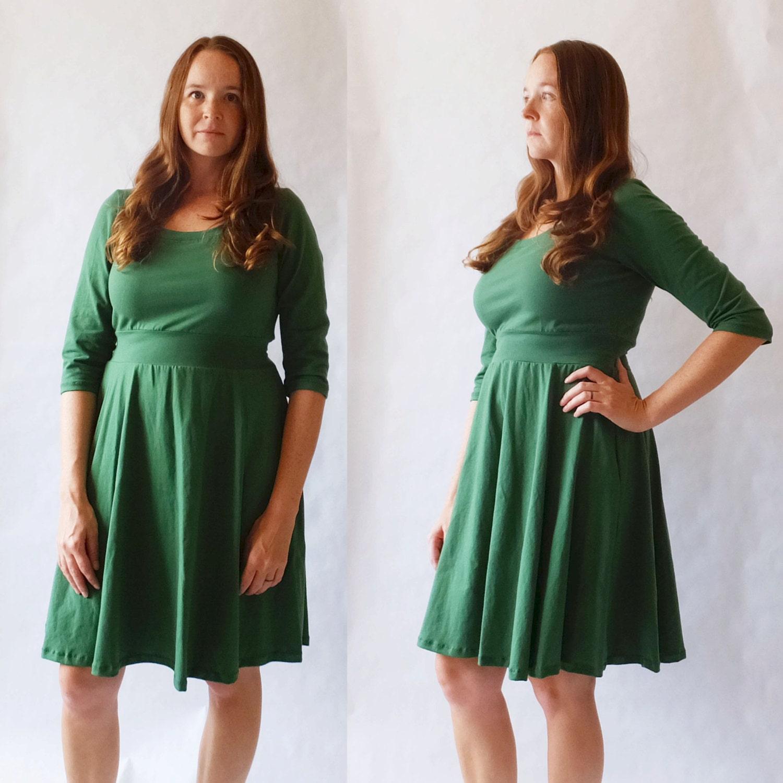 Emerald Holiday Dress Womens Green Party Dress Cotton Jersey