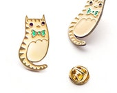 Cat Enamel Pin Cat Pin Bowtie Cat Brooch Pin Brass Cat Enamel Pins Bow Tie Cat Pin Cat Lapel Pin - CATS! PINS!