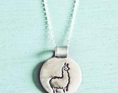 Llama Necklace Llama Jewelry - Eco-Friendly Sterling Silver Little Tiny Llama Necklace