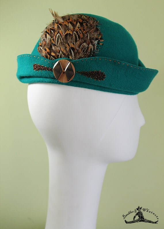 Women's Teal Sculpted Wool Cloche Hat - 1920s Style Women's Cloche - Unique Derby Cloche - OOAK