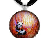 Autumn Moon Panda Bamboo Handmade Jewelry Art Pendant