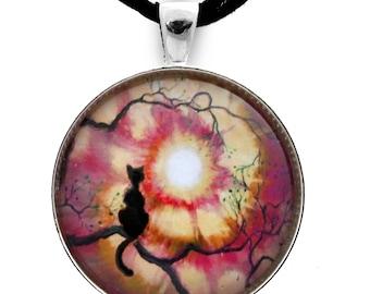 Black Cat Necklace Silhouette in Tie Dye Sunset Handmade Jewelry Art Pendant