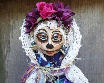 Sugar Skull art doll, Dia de los Muertos, Ooak art doll, Day of the Dead, Blue and Purple colors, wall decor, Griselda Tello, Original dolls