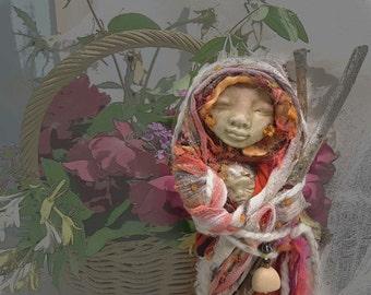 Boho Spirit Art Doll, OOAK Handcrafted assemblage art. Wall decor, Doula companion.