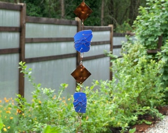 Wind Chime Blue Beach Glass Copper Windchime Stained Glass Windchimes