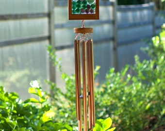Wind Chime, Green Purple Lilac Glass Copper Suncatcher