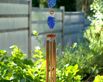 Wind Chimes Blue Sea Glass Sun Catcher with Large Copper Chimes beach glass stained glass windchime suncatcher