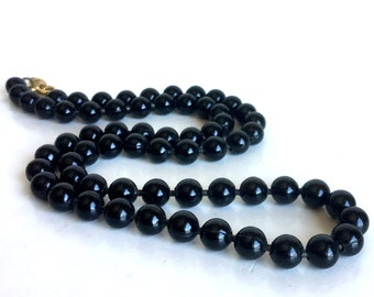 Vintage Black Metal Ball Chain Necklace, Glossy Shiny Deep Black Finish - Nice Weight & Feel - Gold Flower Clasp - 18-19 Inch Layering Piece