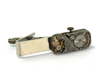 Sleek Steampunk Tie Bar Clip with Vintage Antique Watch Movement Ruby Gemstone Jewelry Silver Toned Rectangular