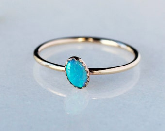 Opal Ring, Gold Opal Ring, Angled Opal, Gold Stacking Ring, 14k Gold Ring, Oval Opal Ring, Serrated Bezel, Recycled Gold, October Birthstone
