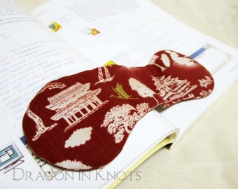 Book Weight - Pagoda, Trees, Crane - Japanese, Korean, Asian theme Page Holder - Brick Red and Ecru - Asian Architecture