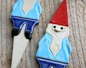 Handmade Pottery Gnome Garden Stake, Magnet or Ornament - 1-2 weeks for delivery- Spring Gifts